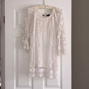 Super cute boho lace sheer tunic